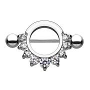 Barbell rund mit 9 Kristallen silber