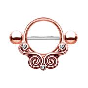 Barbell mit Wirbel und Kristall rosegold