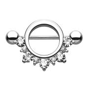 Barbell rund mit unterschiedlichen Kristallen silber