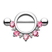 Barbell rund mit unterschiedlichen Kristallen pink