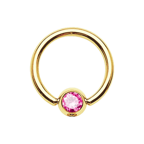 Micro Ball Closure Ring vergoldet mit Kugel Kristall pink