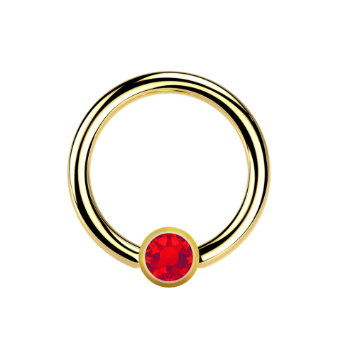 Micro Ball Closure Ring vergoldet mit Kugel Kristall rot