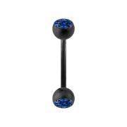 Micro Banane schwarz matt mit zwei Kristallkugeln dunkelblau
