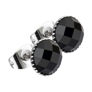Ohrstecker facettierter Kristall schwarz