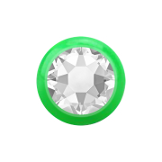 Micro Kugel grün mit Kristall silber