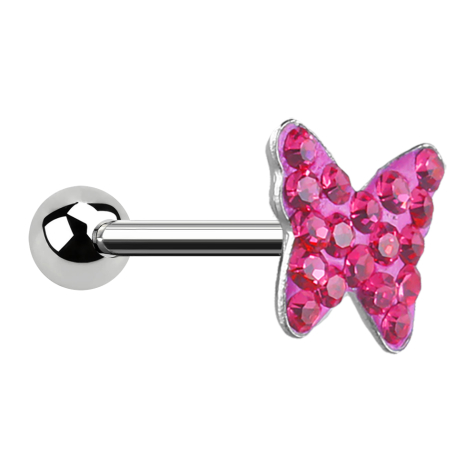 Micro Barbell mit Schmetterling pink