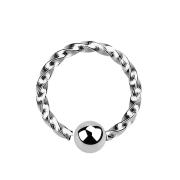 Micro Piercing Ring mit Kugel einseitig fixiert silber geflochten