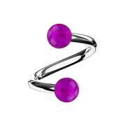 Micro Spirale silber mit zwei Kugeln violett transparent