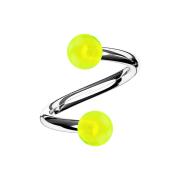 Micro Spirale silber mit zwei Kugeln gelb transparent