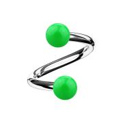 Micro Spirale silber mit zwei Kugeln grün