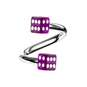 Micro Spirale silber mit zwei Würfel violett...