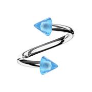 Spirale silber mit zwei Cones hellblau transparent