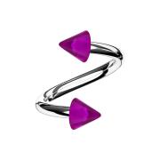 Micro Spirale silber mit zwei Cones violett transparent