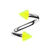 Micro Spirale silber mit zwei Cones gelb transparent