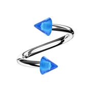 Spirale silber mit zwei Cones dunkelblau transparent
