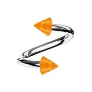 Spirale silber mit zwei Cones orange transparent