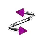 Spirale silber mit zwei Cones violett transparent