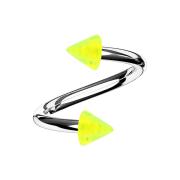 Spirale silber mit zwei Cones gelb transparent