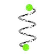 Micro Spirale silber mit zwei Kugeln grün transparent
