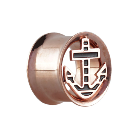 Flared Tunnel rosegold mit Anker
