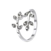 Ring mit Blätter Kristall silber