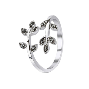 Ring mit Blätter Kristall schwarz
