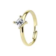 Ring vergoldet mit eckigem Kristall