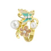 Ring vergoldet Schmetterling mit Perlen
