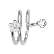 Ring silber mit Blume und Kristall