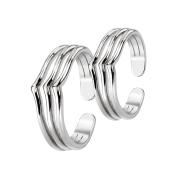Ring set silber mit drei Linien