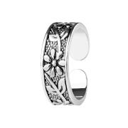 Ring silber mit Blume und Blätter