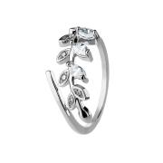 Ring silber mit Kristallblatt