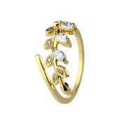 Ring 14k vergoldet mit Kristallblatt