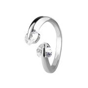 Ring silber mit zwei Kristallherzen