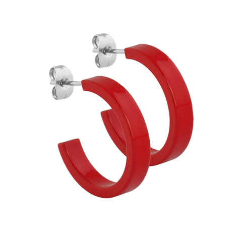 Ohrstecker Supernova Fire Red rund flach 5x24
