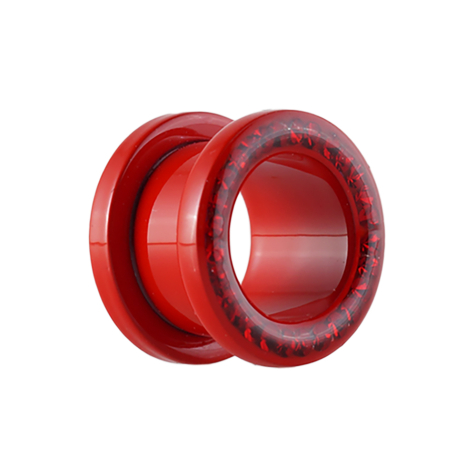 Flesh Tunnel Supernova Fire Red mit Swarovski Kristall...