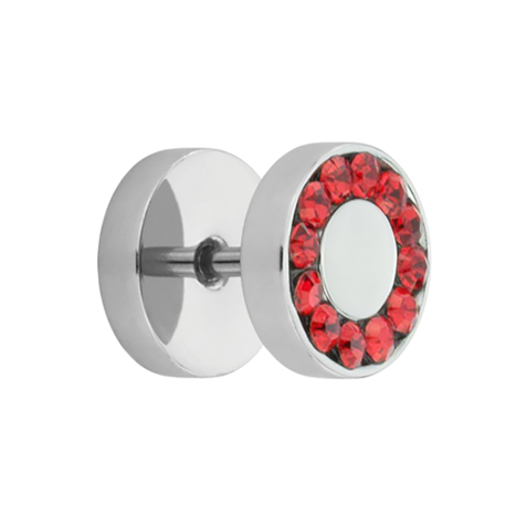Fake Plug Supernova High Polished mit Swarovski Kristall rot
