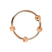 Micro Piercing Ring mit drei kleinen Seilwindungen rosegold