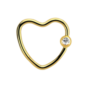Micro Ball Closure Ring vergoldet Herz mit Kristallkugel silber