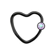 Micro Ball Closure Ring schwarz Herz mit Kristallkugel multicolor