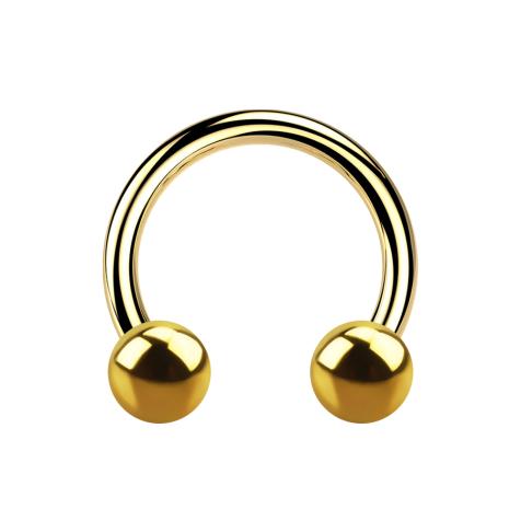 Micro Circular Barbell vergoldet mit zwei Kugeln