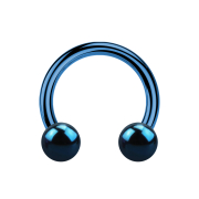 Micro Circular Barbell dunkelblau mit zwei Kugeln