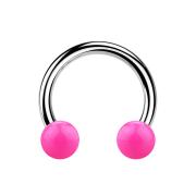 Micro Circular Barbell silber mit zwei Kugeln pink