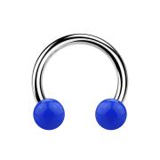 Micro Circular Barbell silber mit zwei Kugeln dunkelblau