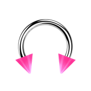 Micro Circular Barbell silber mit zwei Cones pink