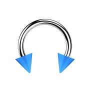 Micro Circular Barbell silber mit zwei Cones hellblau