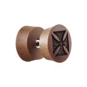 Fake Plug aus Sawo Holz mit Kreuz
