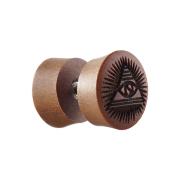 Fake Plug aus Sawo Holz mit Auge der Vorsehung