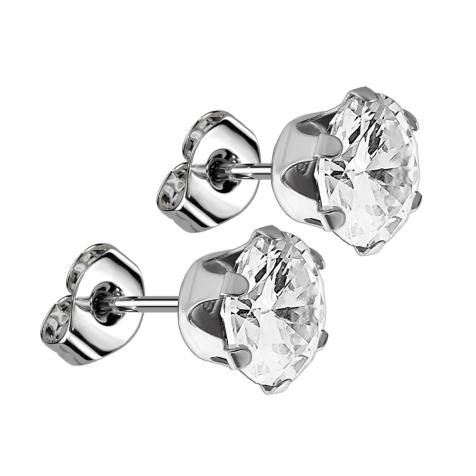 Ohrstecker mit rundem Kristall silber