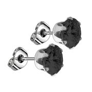 Ohrstecker mit rundem Kristall schwarz